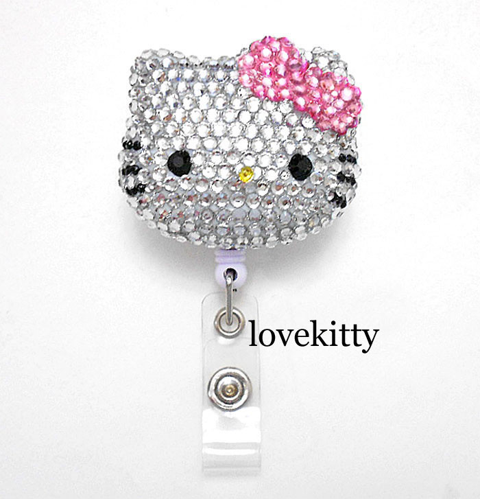 0d04a6e2f4b3 Pink Bow -- Blinged Out Hello Kitty Retractable ID Badge Holder ...