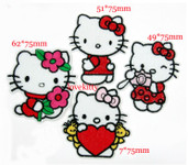 4 pieces Set Hello Kitty Sew or iron on embroidered patches 2 -- by lovekitty