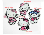 4 pieces Set Hello Kitty Sew or iron on embroidered patches 1 -- by lovekitty