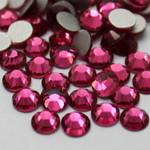 Fuchsia -- Glass Rhinestone -- 1440 pcs / Pack Flatback Round High Quality --- lovekitty