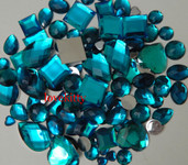 30 pcs Teal FlatBack Mixed Sizes Gems-- lovekittybling