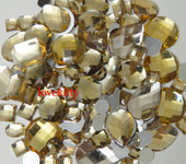 30 pcs Champagne FlatBack Mixed Sizes Gems-- lovekittybling
