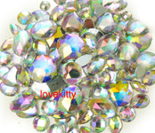 30 pcs AB Clear FlatBack Mixed Sizes Gems-- lovekittybling