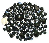 100 pcs --- Sew-On Gems -- Black -- Mixed Shapes Flat Back Gems ( Mixed Sizes has thread holes ) ---- love kitty bling