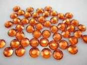 Orange  --- 6mm  50pcs ---Rhinestones Round Flat back 14-facet ( High Quality ) --- lovekitty