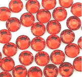 Orange  Red  --- 6mm  50pcs ---Rhinestones Round Flat back 14-facet ( High Quality ) --- lovekitty