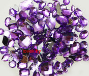 100 pcs --- Sew-On Gems -- Lavender-- Mixed Shapes Flat Back Gems ( Mixed Sizes has thread holes ) ---- love kitty bling