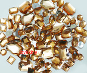100 pcs --- Sew-On Gems -- Champagne  -- Mixed Shapes Flat Back Gems ( Mixed Sizes has thread holes ) ---- love kitty bling