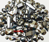 100 pcs --- Sew-On Gems -- Silver Black -- Mixed Shapes Flat Back Gems ( Mixed Sizes has thread holes ) ---- by lovekitty