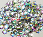 100 pcs --- Sew-On Gems -- AB Clear -- Mixed Shapes Flat Back Gems (  medium size 13mm - 20mm  has thread holes ) ---- by lovekitty