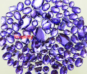 100 pcs --- Sew-On Gems -- Dark Lavender -- Mixed Shapes Flat Back Gems ( Mixed Sizes has thread holes ) ---- by lovekitty