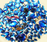 100 pcs --- Sew-On Gems -- Sky Blue -- Mixed Shapes Flat Back Gems ( Mixed Sizes has thread holes ) ---- by lovekitty