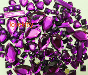 100 pcs --- Sew-On Gems -- Purple Fuchsia -- Mixed Shapes Flat Back Gems ( Mixed Sizes has thread holes ) ---- by lovekitty