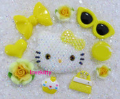 DIY Blinged Out AB Jelly Hello Kitty Phone Case Resin Cabochons Deco Kit Z419 --- lovekitty