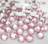 Extra Light Pink  --- 6mm  50pcs ---Rhinestones Round Flat back 14-facet ( High Quality ) --- lovekitty