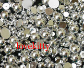 Silver  --- 10mm --- 50 pieces flat back pearl cabochons --- lovekitty