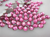 Rose Pink   --- 6mm  50pcs ---Rhinestones Round Flat back 14-facet ( High Quality ) --- lovekitty