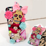 DIY 3D Pink Bow & Skull Bling Bling Kawaii Flatback Resin Cabochons Cell Phone Case Deco Kit / Set Z428 (not a finished product) -- lovekitty