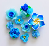 Blue --- 10 pcs Handmade Assorted Clay Flowers Mixed lot Deco Pieces  --- by lovekitty