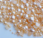 800 pieces Champagne Mixed Sizes Flatback Pearl Cabochons -- lovekittybling