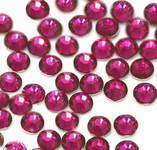 Fuchsia   --- 6mm  50pcs ---Rhinestones Round Flat back 14-facet ( High Quality ) --- lovekitty