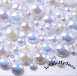 AB White --- 10mm --- 100 pieces flat back pearl cabochons --- lovekitty