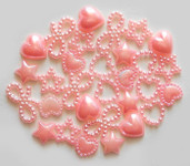 30 Pcs Mixed Pink Mixed Flatback Pearl Cabochon-- Lovekitty
