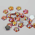 AB Orange - 8mm - 50 pcs  Resin Flatback Flower Shape Gems -- by lovekitty