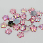 AB Pink - 8mm - 50 pcs  Resin Flatback Flower Shape Gems -- by lovekitty