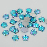 AB Lake Blue - 8mm - 50 pcs  Resin Flatback Flower Shape Gems -- by lovekitty