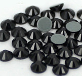 Black  -- Hotfix Glass Crystal Rhinestone -- 1440 pcs / Pack Flatback Round High Quality Compare to SWAROVSKI