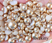 800 pieces Light Brown Mixed Sizes Flatback Pearl Cabochons -- lovekittybling