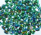 50 pcs - Sew-On Gems --  AB Green -- Mixed Shapes Flat Back Gems ( Mixed Sizes has thread holes ) ---- love kitty bling