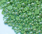600 pieces AB Olive Green Mixed Sizes Flatback Pearl Cabochons -- by lovekitty