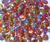50 pcs - Sew-On Gems --  AB Red -- Mixed Shapes Flat Back Gems ( Mixed Sizes has thread holes ) ---- lovekitty