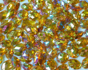 50 pcs - Sew-On Gems --  AB Gold -- Mixed Shapes Flat Back Gems ( Mixed Sizes has thread holes ) ---- lovekitty