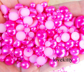 800 pieces Fuchsia Mixed Sizes Flatback Pearl Cabochons -- by lovekitty