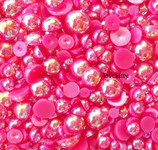 600 pieces AB Fuchsia Mixed Sizes Flatback Pearl Cabochons -- by lovekitty