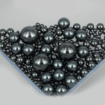 800 pieces Charcoal Gray Mixed Sizes Round Pearl Cabochons ( no hole )-- lovekittybling