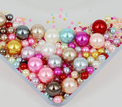 800 pieces Mixed Colors Mixed Sizes Round Pearl Cabochons ( no hole )-- lovekittybling