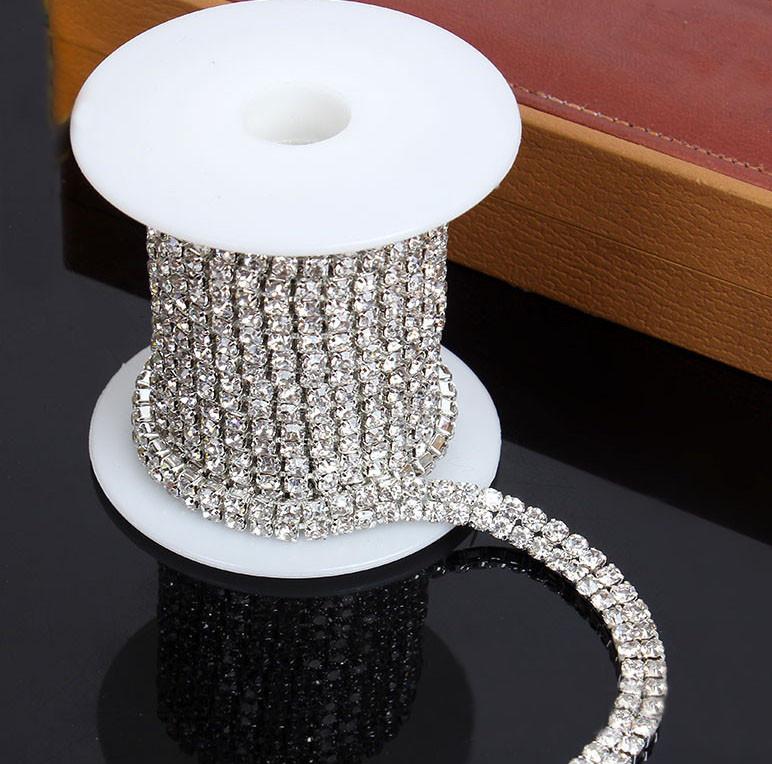 2 Row Rhinestone Trim - Crystal Trim - Rhinestone Chain - Silver ... 0be0c576cb4f