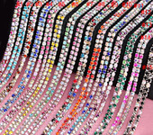 1 Row  AB Colors Rhinestone Trim - Crystal Trim - Rhinestone Chain - Silver Plated Rhinestone trim / Rhinestone cup trim  - 3mm ( SS12 ) Rhinestone - 1 yard