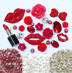 DIY 3D Red Lips Bling Bling Alloy Kawaii Cabochons Cell Phone Case Deco Kit / Set Z445 --- lovekitty