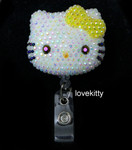 AB Jelly Yellow Bow -- Blinged Out Hello Kitty Retractable ID Badge Holder /  Name Badges / ID Badge Reel ( 100% Handcrafted ) ----  lovekitty