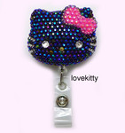 AB Jelly Black Face Hot Pink Bow -- Blinged Out Hello Kitty Retractable ID Badge Holder /  Name Badges / ID Badge Reel ( 100% Handcrafted ) ----  lovekitty