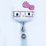 Pink Bow -- Blinged Out Nerd Kitty Hello Kitty Retractable ID Badge Holder /  Name Badges / ID Badge Reel ( 100% Handcrafted ) ----  lovekitty