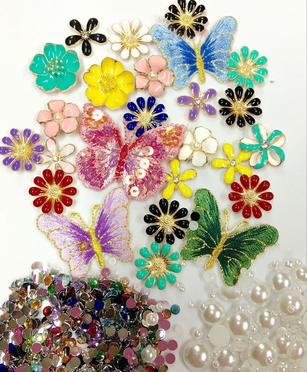 Sale DIY 3D Alloy Bling Bling Glass Gems Kawaii Resin Flatback Decoden Cabochons Cell Phone Case Deco Kit Not A Finished Product