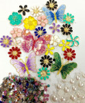 New -- DIY 3D Flowers and Butterflies Alloy Bling Bling Glass Gems Flatback Decoden Cabochons Cell Phone Case Deco Kit