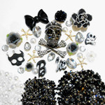 DIY 3D Rhinestones Skull Resin Flat back Kawaii Cabochons Deco Kit / Set Z275 -- lovekitty