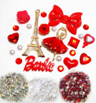 DIY 3D Rhinestones Eiffel Tower Resin Flat back Kawaii Cabochons Deco Kit / Set Z276 -- lovekitty